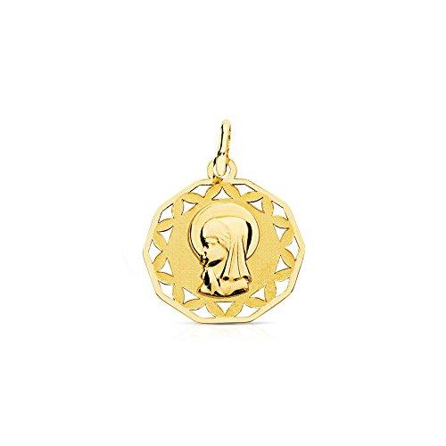 Medalla Oro Virgen Niña cerco calado (9kts)