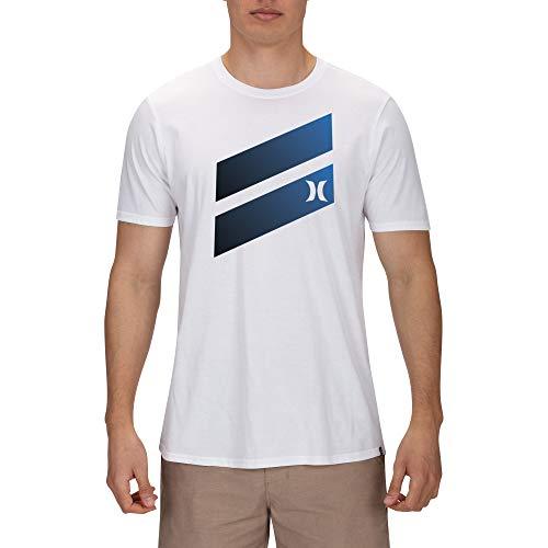 Hurley Herren T-Shirts M Icon Slash Gradient Tee, White/Black, M, AJ1782