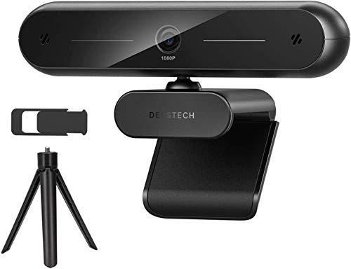 DEPSTECH Webcam 1080P, Webcam mit Dual Mikrofon, Objektivdeckel, Streaming Webkamera mit Autofokus/Stereo Mikrofon für Computer, Skype, Video Chat und Aufnahme, Schwarz