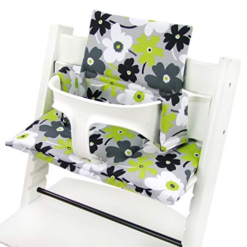 BambiniWelt Sitzkissen Auflage Sitzkissenset für Stokke Tripp Trapp Hochstuhl *20 FARBEN* Ersatzkissen Kissen 2 teilig (grau grün weiß Blumen) XX