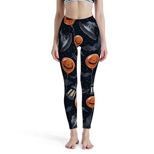 NC83 Dames zwarte vogel raf Hallowmas ballon pompoen patroon leggings niet doorzichtig push up sport yoga broek gymnastiek - krahe capri-leggings dames