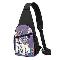 ワンショルダーバッグ メンズ 斜めがけ胸バッグ ボディー肩掛けバッグ 小型手提げバッグ 出張 通勤 通学用 パグ 犬柄