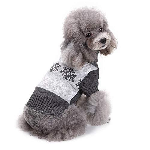 Ksruee Molie Otoño e Invierno Pet Sweater Venta al por Mayor Cat Dog Ropa de Navidad Patrón de Copo de Nieve Gris Ropa de Abrigo de Mascotas