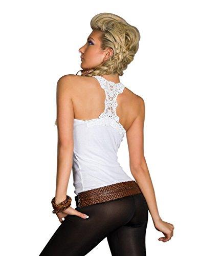 Unbekannt 4197 Fashion4Young Damen Tailliertes Rip-Top mit einem Häkel-Einsatz (34-36-38, Weiss)