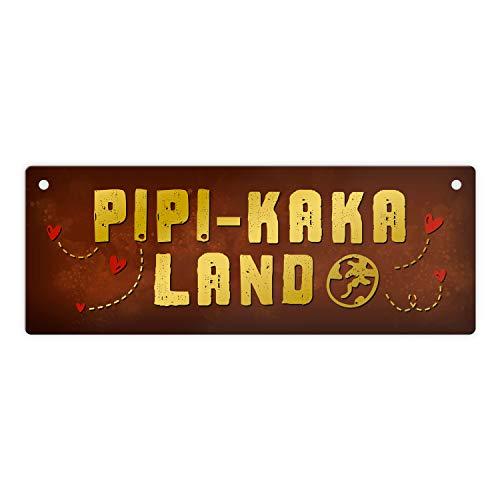 trendaffe - Toiletten Metallschild mit Klo Motiv und Spruch: PIPI-Kaka-Land Schild Türschild