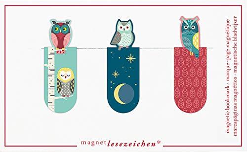 Magnetlesezeichen Nachteulen 3er Set | Magnetisches Lesezeichen | Charmant Illustriert