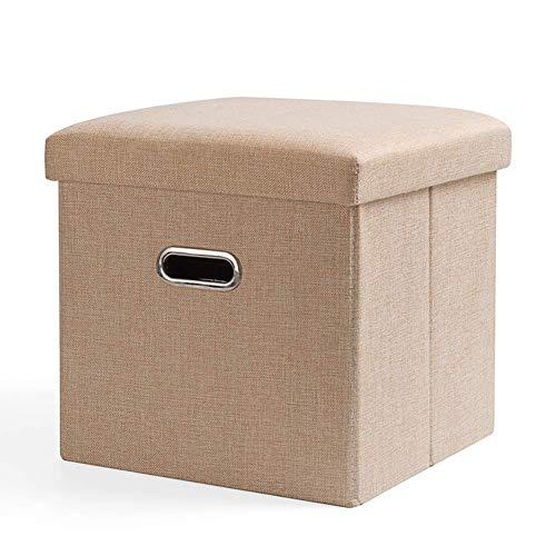 XBCDX Otomano de Almacenamiento Plegable, reposapiés de Cubo Duradero con Asas de Orificio Caja de Juguetes Fuerte Mesa de Centro Taburete Moderno Asiento Beige 31x31x31cm (12x12x12 Pulgadas)