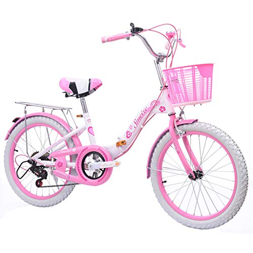 Bicicletas infantiles Plegable de una Sola Velocidad con Freno niña Bicicleta 20 Pulgadas con Asiento Trasero Bicicleta para bebé
