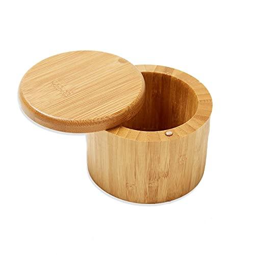 Tarro Condimento Sal Bambú Natural Caja Sal Contenedor Tapa Giratoria Salero Cocina de Bambú Caja,con Contenedor de Tapa Giratoria para Cocina y Hogar,para Especias,Salero,para Cocina,Restaurante