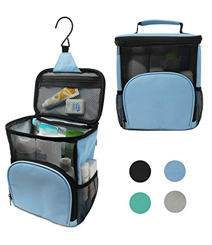 TERRA Home Portable Shower Caddy - Large Capacity, Quick Dry, Mildew Resistant with Metal Hook - Hanging Shower Bag - Waterproof, Breathable Mesh Toiletry Tote for Gym and College Dorm (Light Blue)