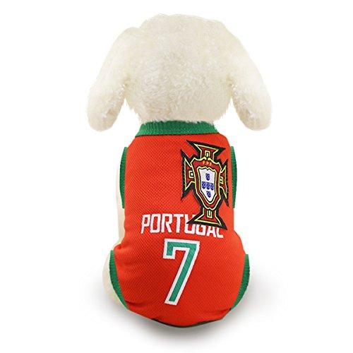 SymbolLife Trajes Perro Disfraz Gato Ropa para Perros Camiseta Ftbol Copa del Mundo FIFA Copa de Europa Jersey Portugal