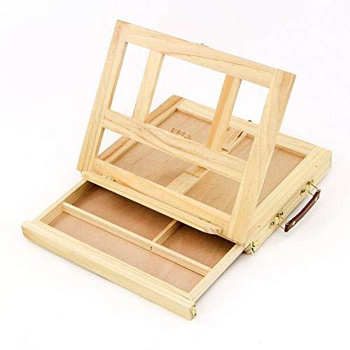 Caballete de mesa de arte con cajón de madera de pino para artistas, soporte para pintar, arte y dibujar.