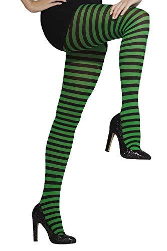 Smiffy'S 42722 Pantis Opacos A Rayas, Verde / Negro, Xs A L - Eu Tamao 34-46