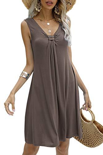 Strandkleider Damen Sommer Kurz Casual Ärmellos A Linie Kleid Minikleid Sommerkleid (Kaffee, L)