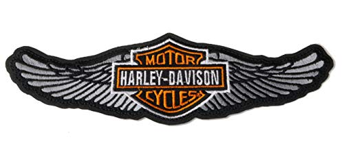 GZM Parche Replica Harley Davidson Alado 25 x 8 cm con Termo Adhesivo para Chaquetas Chalecos Biker