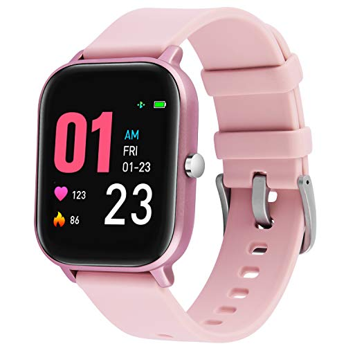 """Smart Watch for Women IP67 Waterproof Fitness Tracker with Heart Rate Step Counter Blood Pressure Monitor 1.4"""" Touch Screen SMS Remind Camera Control for Android and iOS Phone Pink"""