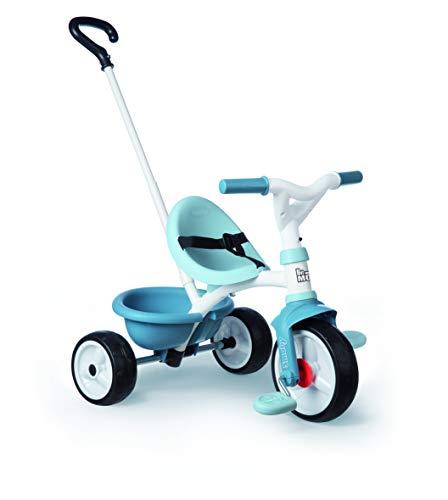 Smoby - Be Move blau - Kinderdreirad mit Schubstange, Sitz mit Sicherheitsgurt, Metallrahmen, Pedal-Freilauf, für Kinder ab 15 Monaten