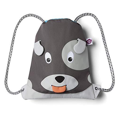 Affenzahn Turnbeutel - für Mädchen und Jungen Kinder 1-5 Jahre - Hund - Grau