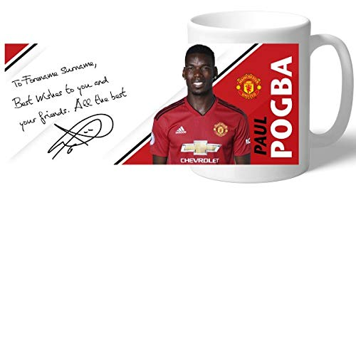 Manchester United Official Personalized Pogba Autograph Mug - Free Personalisation