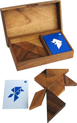 LOGOPLAY Tangram für 2 Spieler - Legespiel - Denkspiel - Knobelspiel - Geduldspiel - Logikspiel aus Holz