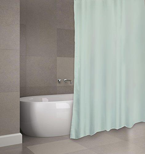 "MSV Cotexsa by Premium Anti-Schimmel Textil Duschvorhang - Anti-Bakteriell, waschbar, 100prozent wasserdicht, mit 12 Duschvorhangringen - Polyester, ""Evergreen"" Grün 180x200cm – Made in Spain"