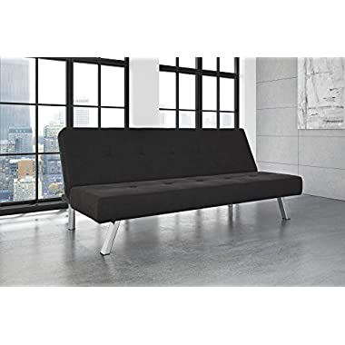 DHP Zany Futon Sofa Bed Sleeper, Durable Microfiber Upholstery Sturdy Chrome Legs. Adjustable Backrest Converts from Couch to Bed (Black)