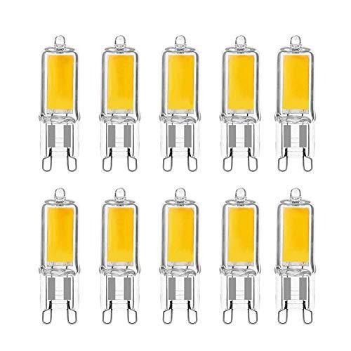 LAKES 10er Pack G9 LED Lampe 3W, 3000k warmweiß G9 LED Leuchtmittel Ersatz 40W G9 Halogenlampe, Nicht Dimmbar