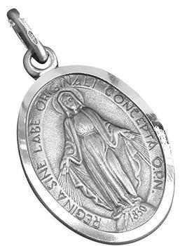 Medal Medalla de plata Nuestra Señora de 16 mm x 20 mm de alto. Plata de ley Nuestra Señora Milagrosa Plata Milagrosa