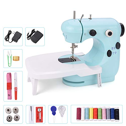 Suteck Mini Sewing Machine for Beginners Portable Electric Sewing Machines with Extension Table Lamp and Thread Cutter with Shared 10 Thread Spools