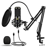 USB Microphone for Computer PC NLL Podcast Condenser Microphone Kit for Streaming Studio Recording Singing with Gaming Mic Stand Shock Mount Pop Filter NC-011
