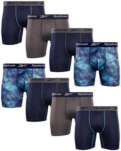 Reebok Men's Performance Boxer Briefs with Comfortable Contour Pouch (8 Pack) (Blue/Print/Blue/Magnet, Medium)