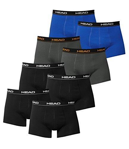 HEAD Herren Boxershorts 841001001 8er Pack, Wäschegröße:L;Artikel:4x Schwarz / 2x Dark Shadow / 2x Blue/Black
