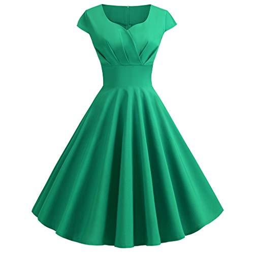 Damen Langarm Spitzen Panel Round Neck Retro Kleid Damen Retro Hepburn Print Taille Swing Kleid Faltenrock Abendkleid Elegante Vintage Swing Kleid
