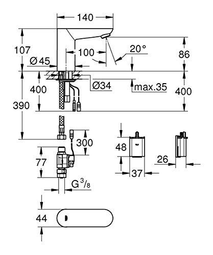 Grohe – Infrarot Sensorarmatur, Waschtisch, Kaltwasserarmatur, mit Batterie, Funktionsmodi, Chrom, Euroeco CE - 4