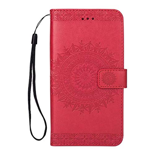 FOLICE Galaxy S9 Plus Case, Mandala Flower Pattern [Shock Absorbent] PU Leather Kickstand Wallet Cover Durable Flip Case for Samsung Galaxy S9 Plus (Red)