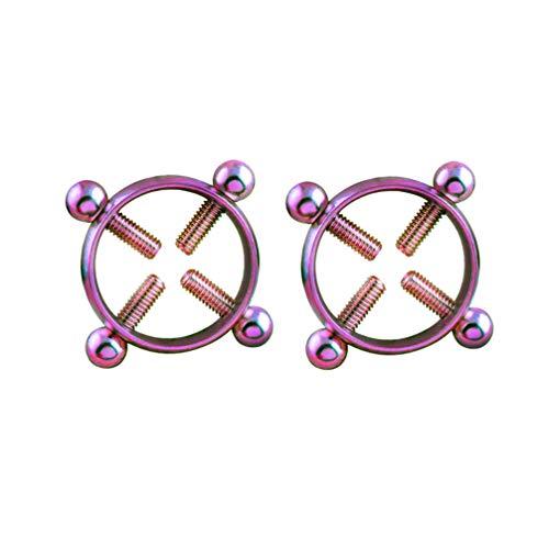 HEALLILY 1 Paar Piercingringe Verstellbarer Stahl Nicht Durchbohrte Nippelschutzringe Schraubclip Am Körperschmuck Bunt