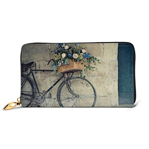 Womens Vintage Bike Met Een Mand Van Bloemen Lederen Portemonnees RFID Blokkeren Rits Rond Portemonnee Echt Lederen Koppeling Portemonnee Kaarthouder Reizen portemonnee Polsband