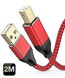Snowkids Cavo Stampante USB 2.0, Cavo USB Stampant 2m Tipo A Maschio a Tipo B Maschio Alta velocità, Cavo USB 2.0 Nylon Cavo Scanner Stampante per HP, Canon, Epson, dell, Brother, Lexmark, Xerox