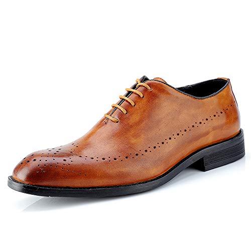 Sunny&Baby Mode pour Hommes Oxford Casual British Style Classic Retro Brush Chaussures de Couleur Brogue Résistant à l'abrasion (Color : Marron, Taille : 41 EU)