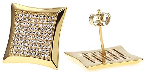 Hip-hop Micro-incrustaciones de circonio grandes pendientes 200 Czstone Stud Pendientes simples estilo de moda para hombres y mujeres, dorado, Taille unique