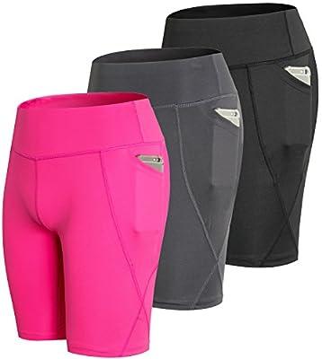 Lavento Women's Compression Shorts Pocket Workout Running Yoga Shorts