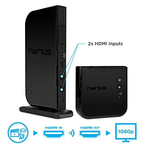 Nyrius ARIES Home + Wireless HDMI 2 x Eingang Sender & Empfänger für Streamen von HD 1080P 3D Video und Digital Audio von Kabel Box, Satellite, BluRay, DVD, PS4, PS3, XBOX ONE/360, Laptops, PC (navs502)