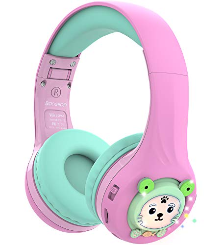 Riwbox Baosilon FB-7S Cuffie per bambini Bluetooth, Cuffie pieghevoli Bluetooth con illuminazione a LED sopra l'orecchio Volume limitato 75/85/95dB con microfono e scheda TF(Rosa e verde)