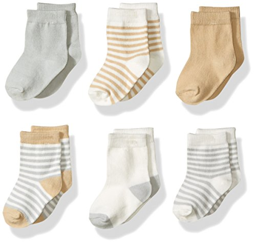 Touched by Nature Baby Organic Cotton Socks, Neutral Stripes, 0-6 Months
