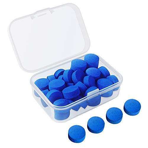 30 Stücke Pool Queue Tipps 12mm Billard Queue Ersatz Tipps mit Klarem Kasten für Snooker Pool Queues (Blue Cue Tipps)