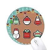 Weihnachtssymbol Weihnachtssymbol Cartoon Ikone Maus Pad Jingling Bell Rund Gummi Mat
