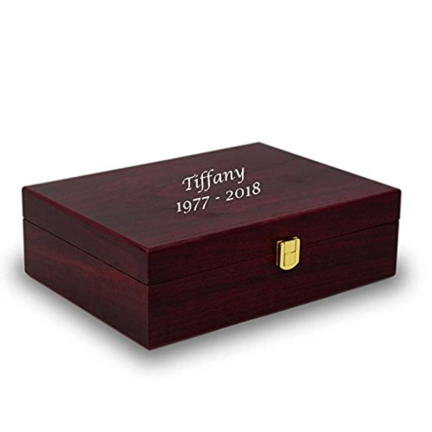 Memory Box Wood Keepsake Box - Large Red Memory Chest - Custom Engraving Included