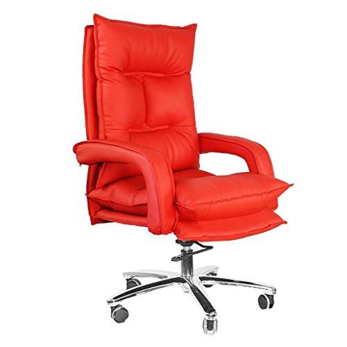 DBGS 15 cm dikke Pad Boss stoel luxe computer van leer met ergonomische rugleuning en reliëfmatras, in hoogte verstelbaar Rood