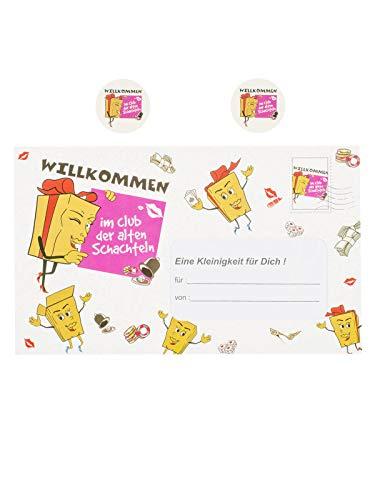 1 Stück 'Alte Schachteln' Riesen-Umschlag mit Zubehör, ideal für Geldgeschenke, ca. 18 x 28 cm