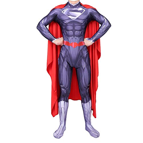 Cosplay Costume Halloween Superman Jumpsuit Tights Adult Children Party Props(Purple) (Color : Child, Size : XS)